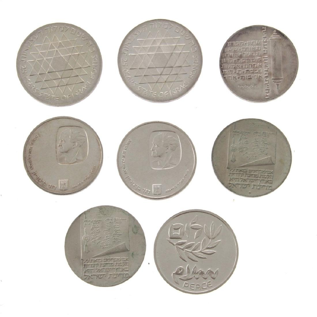 Eight Israel Silver Coins.