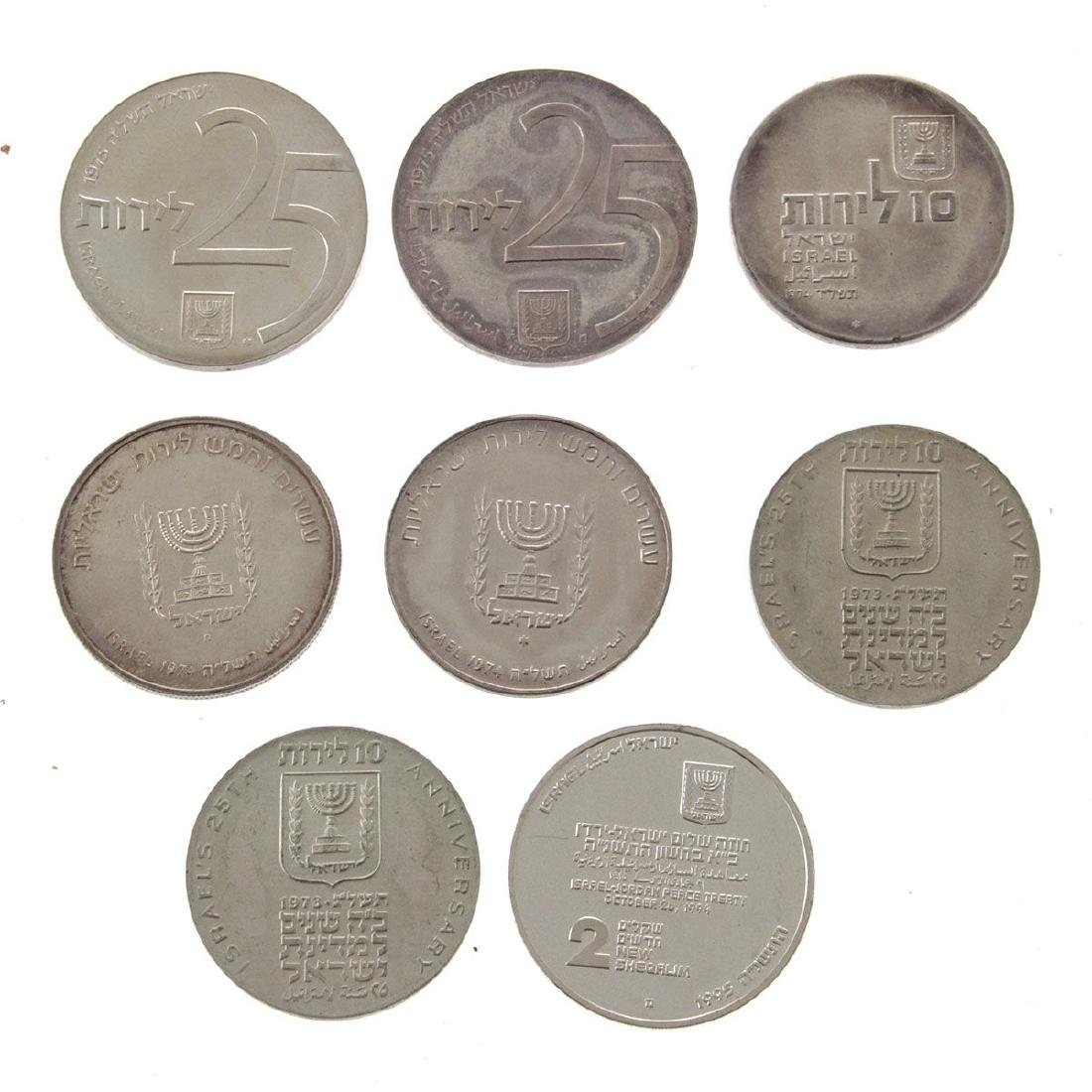 Eight Israel Silver Coins. - 2