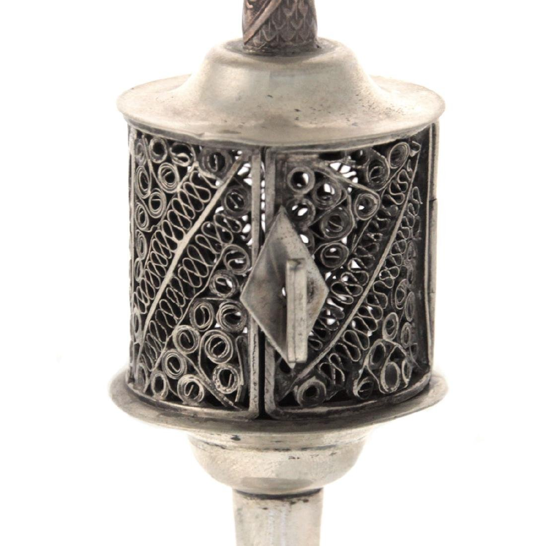 Silver and Filigree Spice Tower Box Besamim, Probably - 2