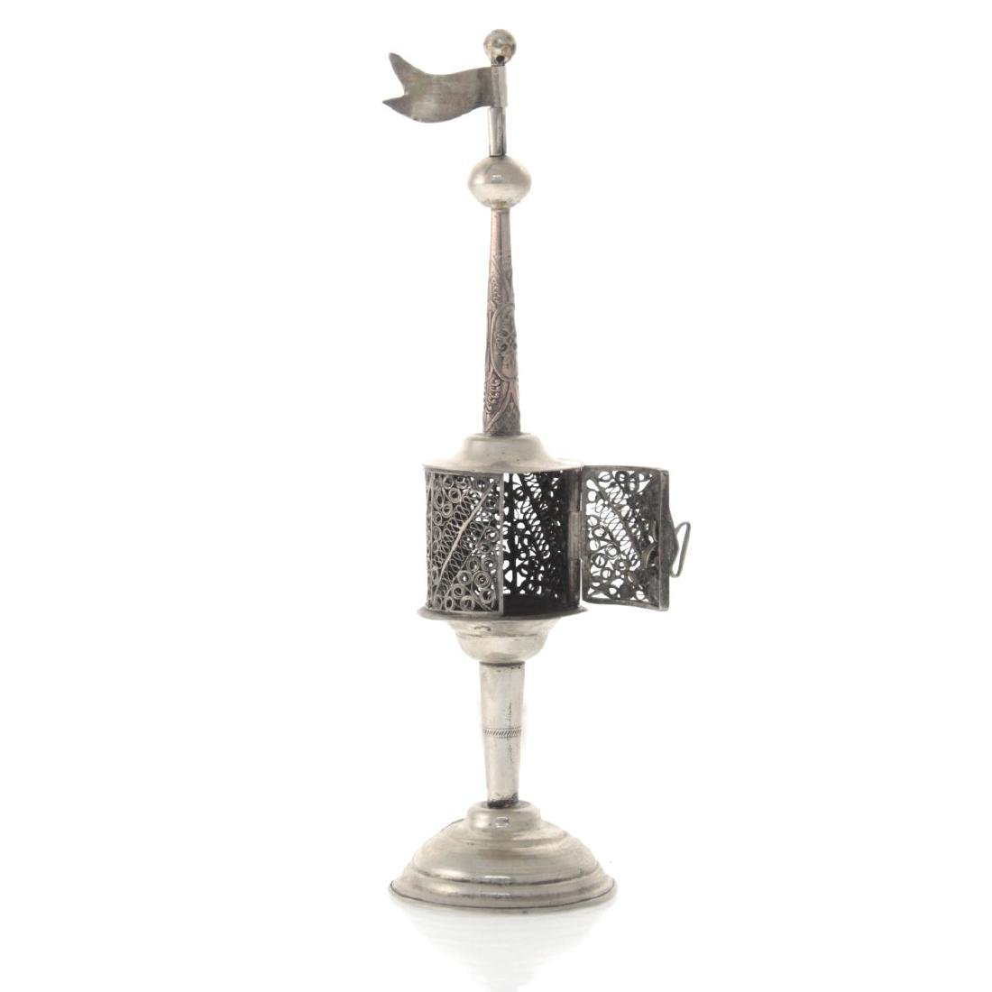 Silver and Filigree Spice Tower Box Besamim, Probably - 3