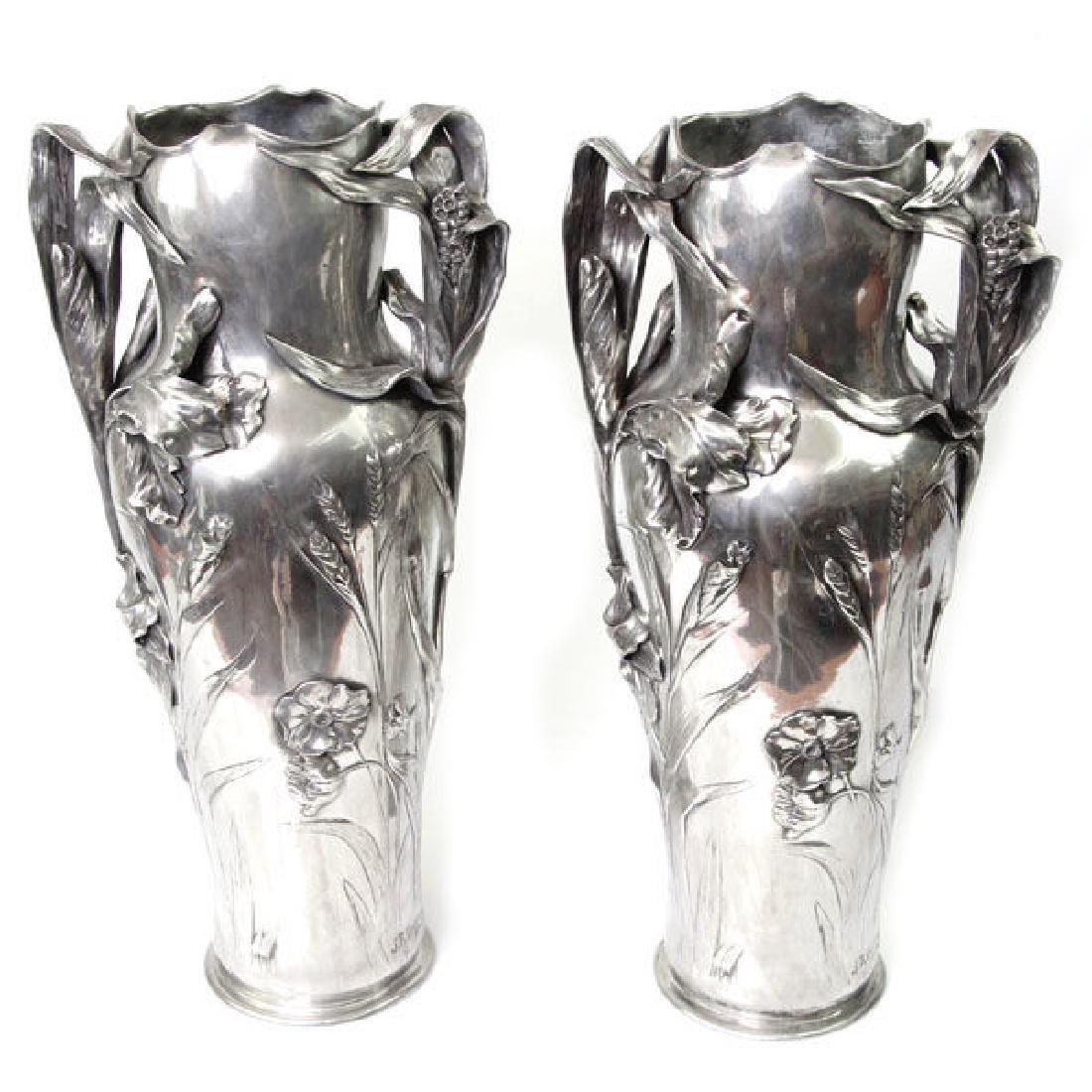 Art Nouveau Pair Of Pewter Floor Vases, J. Robert