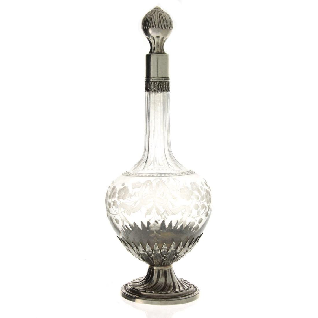 French Sterling Silver and Crystal Scent Bottle, Henri