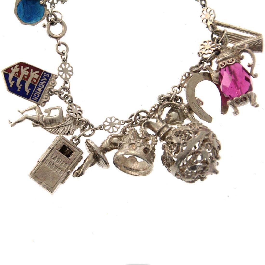Sterling Silver Charm Bracelet. - 2