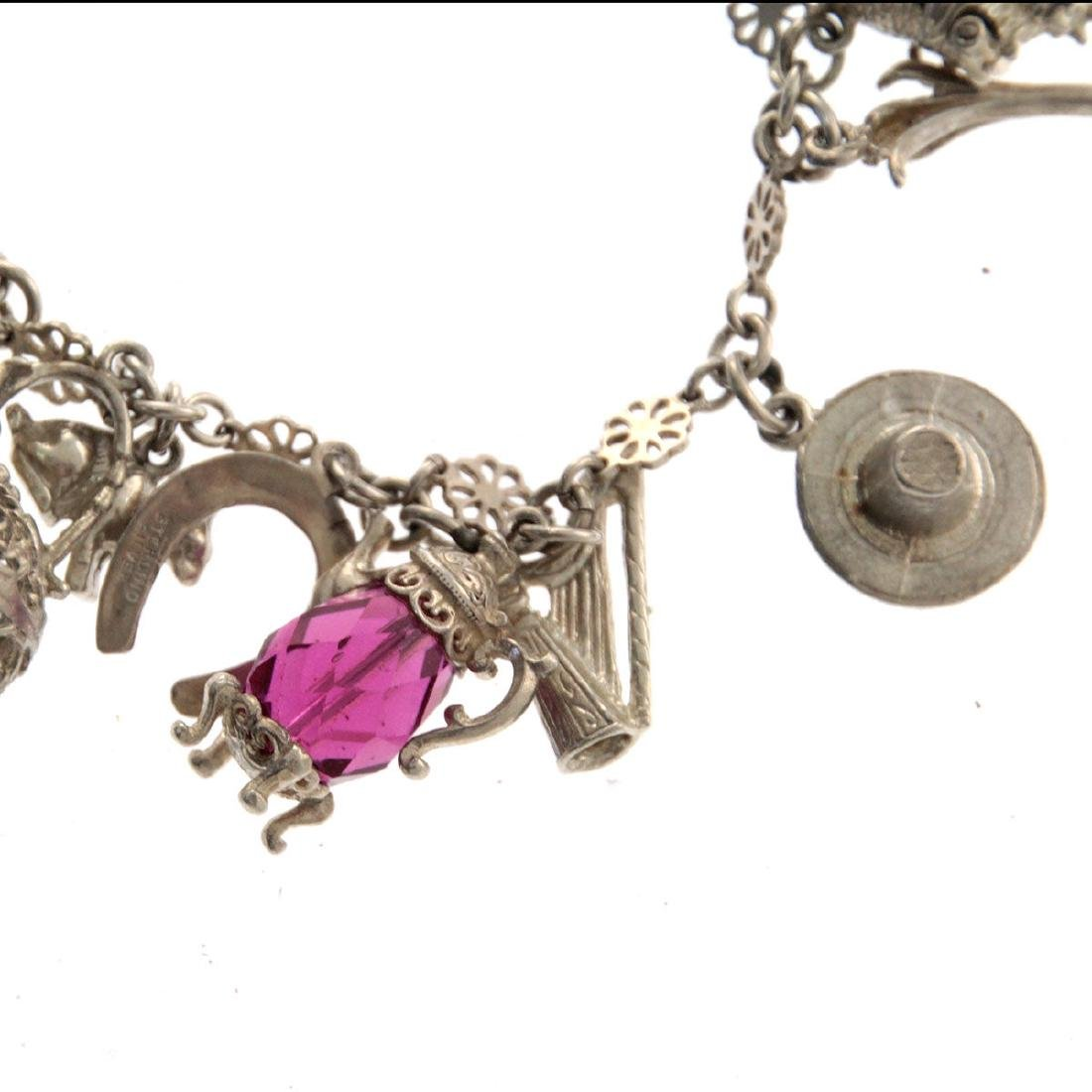 Sterling Silver Charm Bracelet. - 4