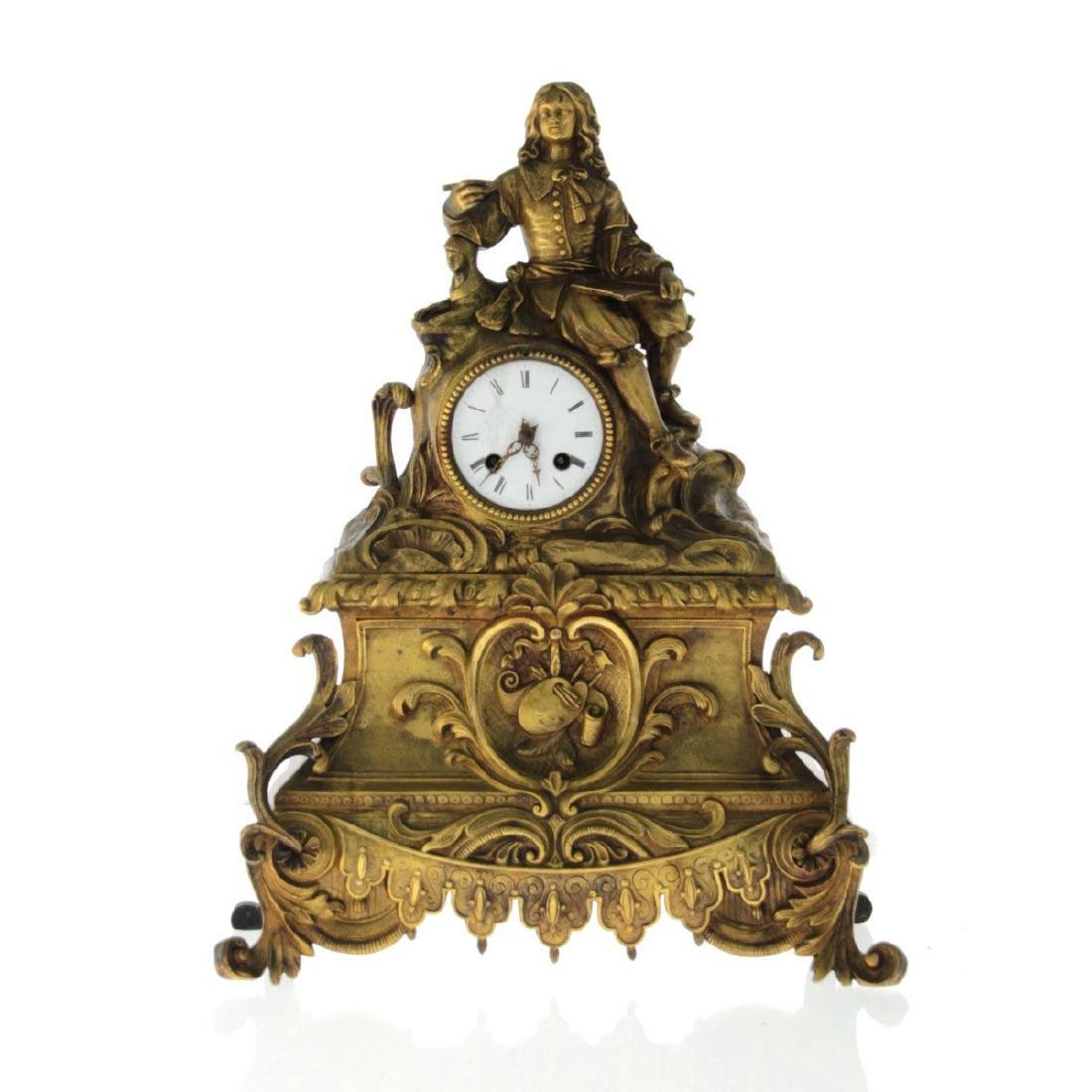 French Brass Mantel Clock, 19th Century.