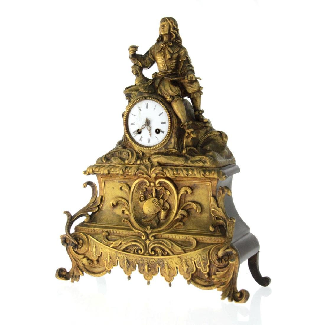 French Brass Mantel Clock, 19th Century. - 4