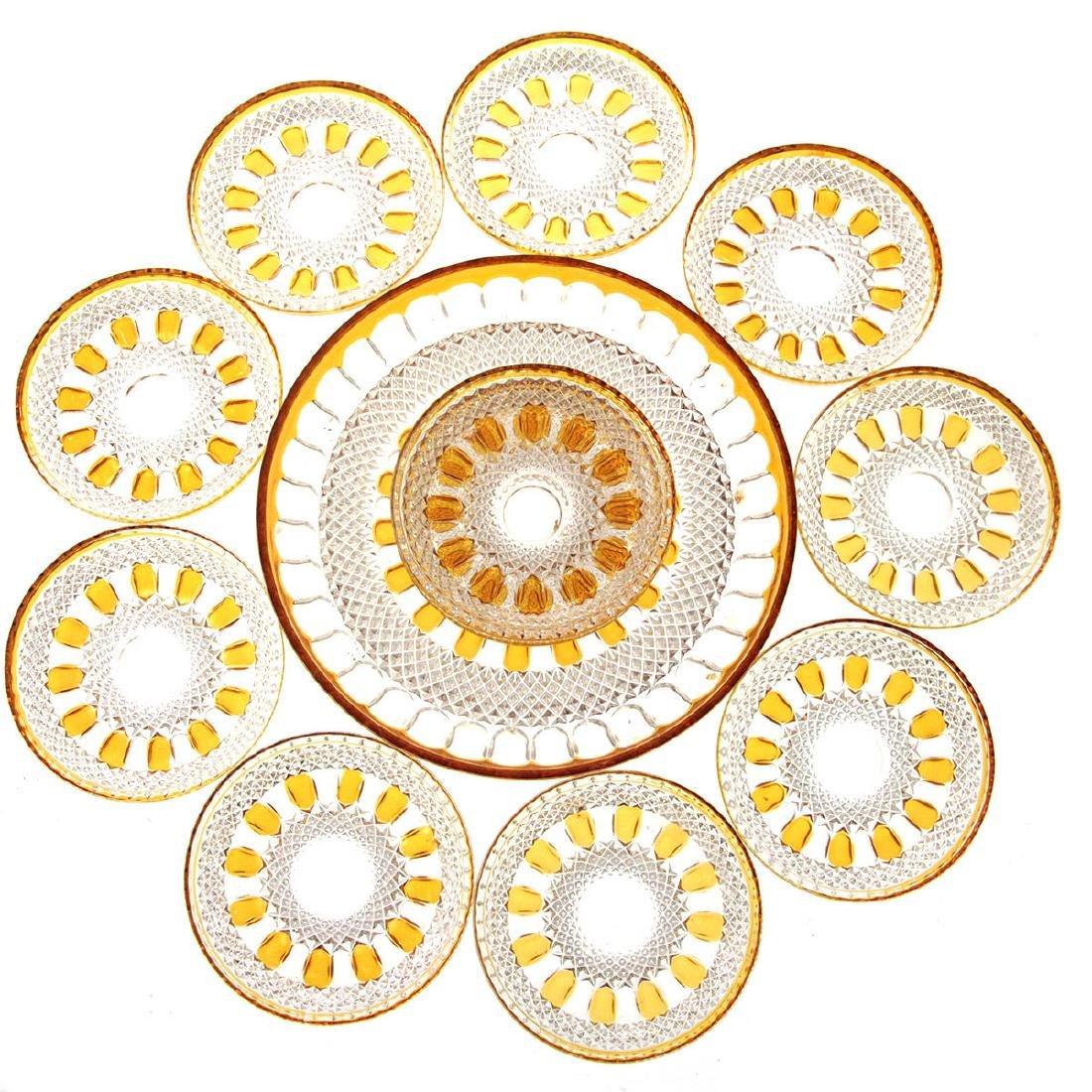 Bohemian Amber Crystal Plates Set.