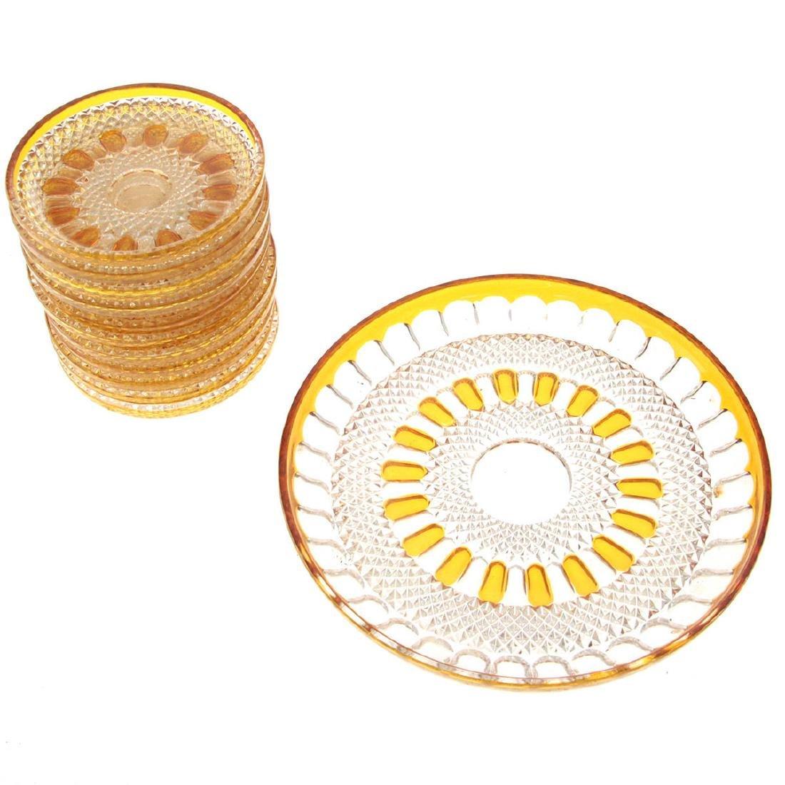 Bohemian Amber Crystal Plates Set. - 2