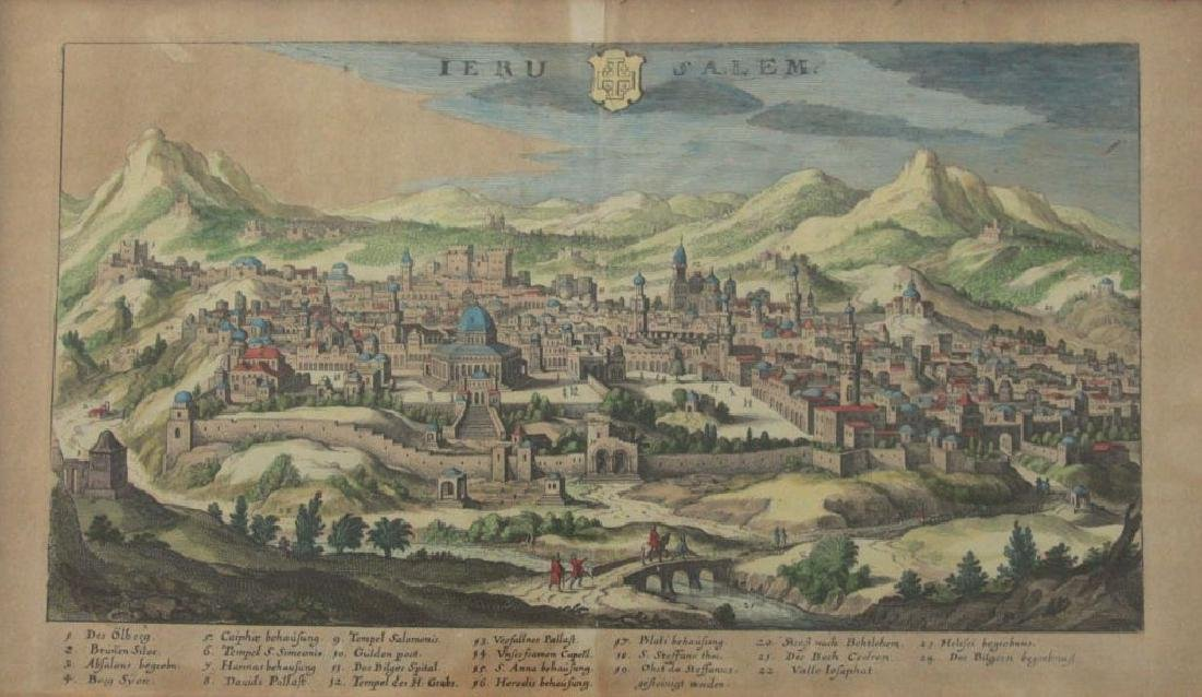 Ierusalem - Panoramic Map View of Jerusalem, Probably