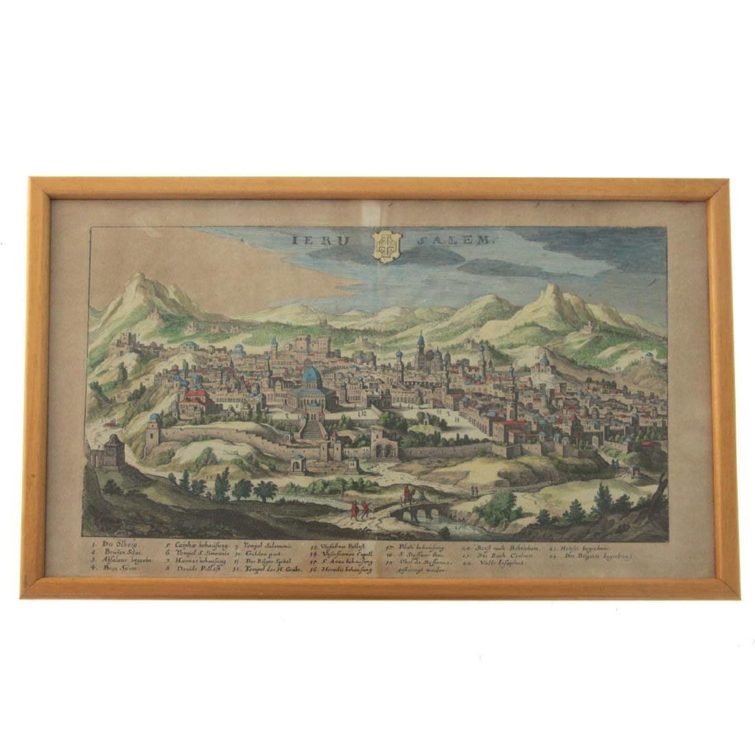 Ierusalem - Panoramic Map View of Jerusalem, Probably - 2