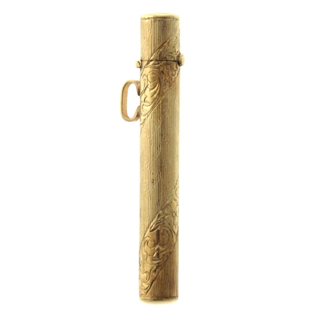 14k Yellow Gold Mezuzah Case Pendant.
