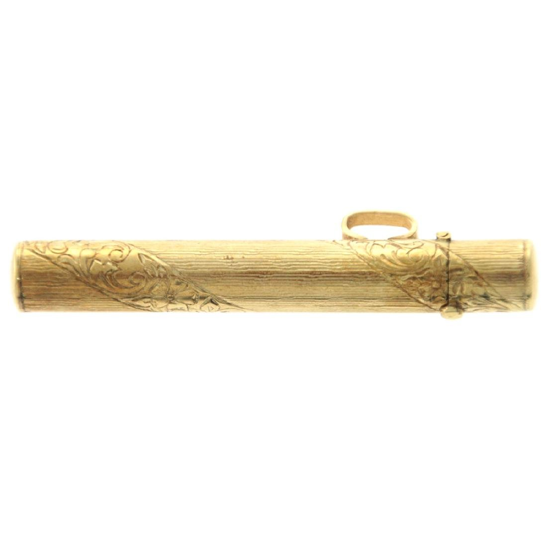 14k Yellow Gold Mezuzah Case Pendant. - 2