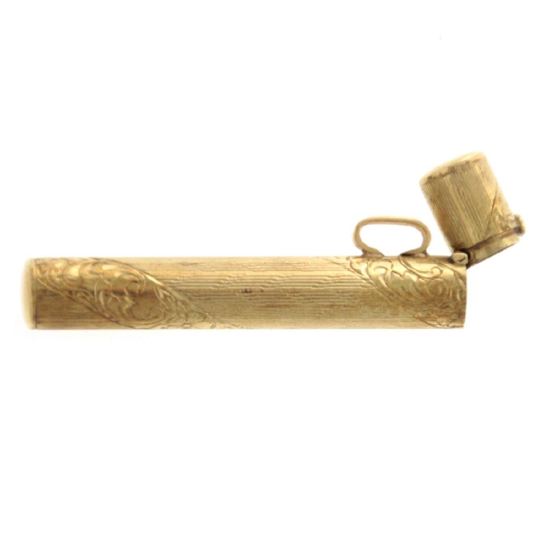 14k Yellow Gold Mezuzah Case Pendant. - 3