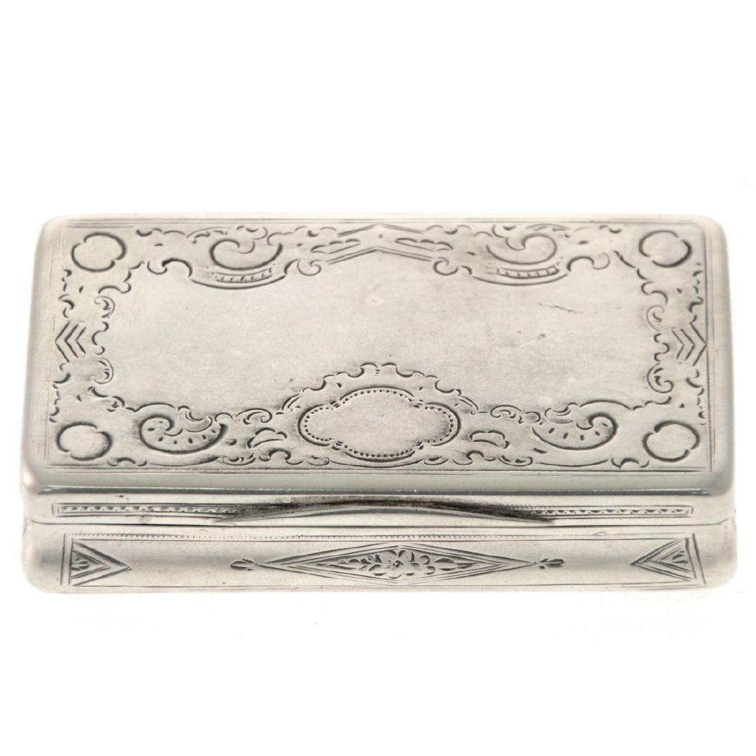 Antique Silver Snuff Box, Vienna, Austria, 1868.