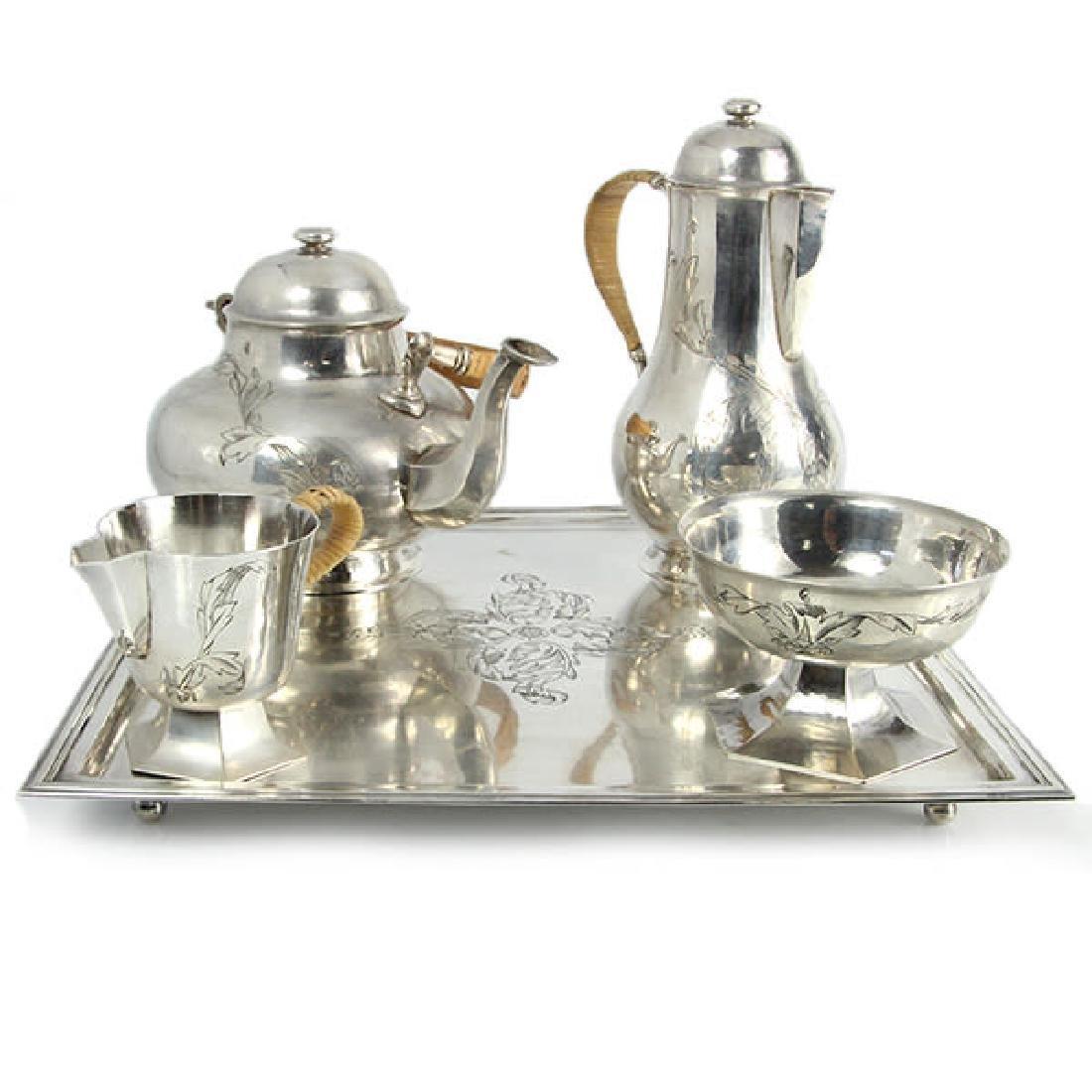 Silver 5pcs Tea & Coffee Set, Circa 1920.