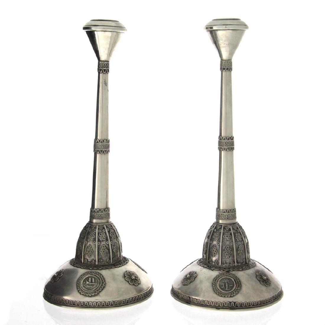 Pair of Bezalel Style Silver Candlesticks, Israel,
