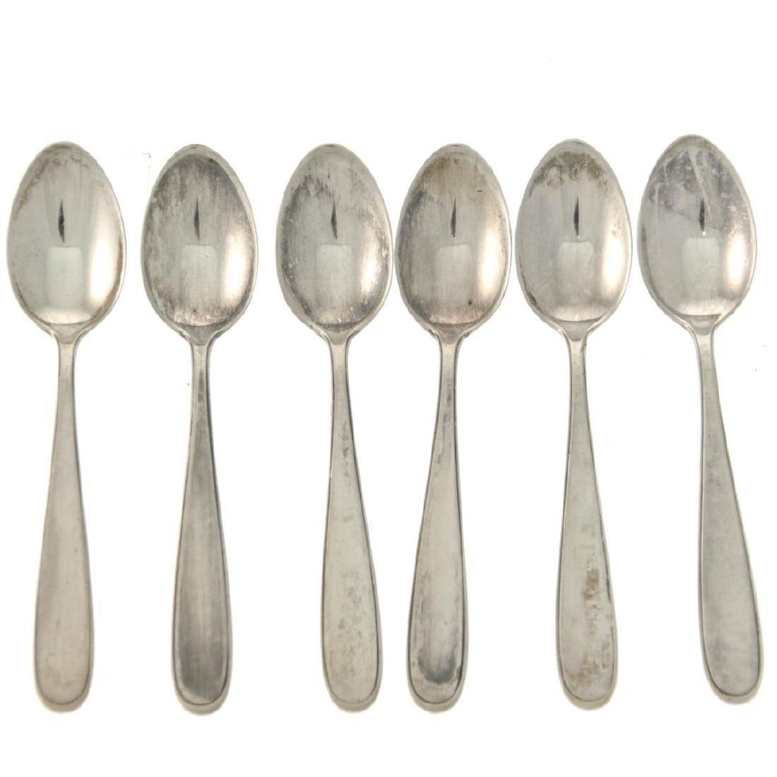 WMF Six Silver Teaspoons, Germany, Early 20th Century.