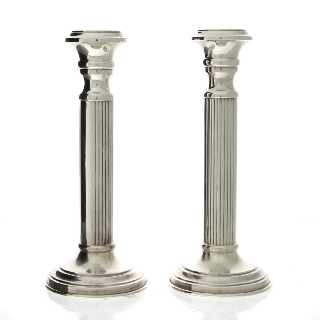 Hazorfim Pair of Sterling Silver Candlesticks.