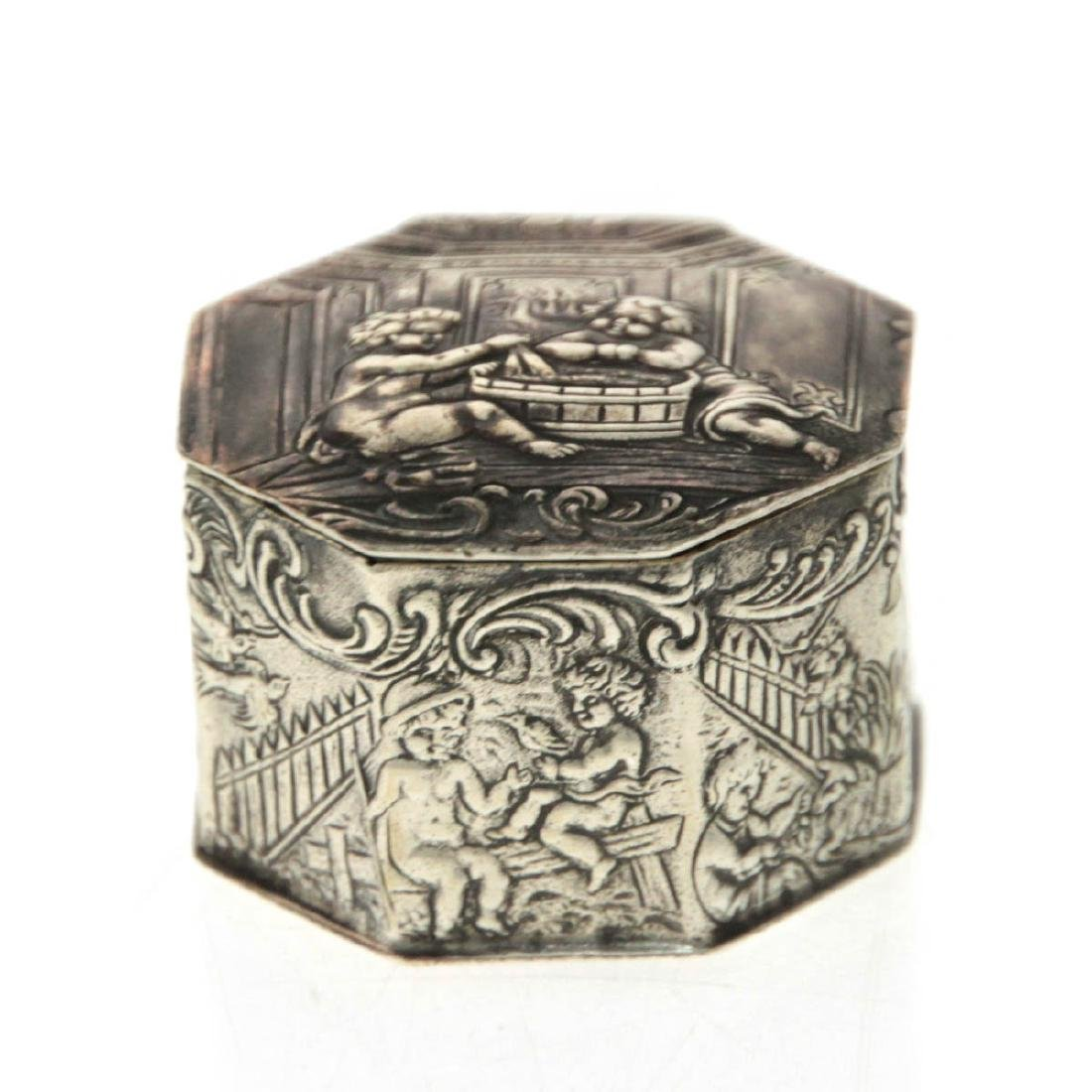Silver Snuff Box, Gebruder Dingeldein, Hanau, Germany,