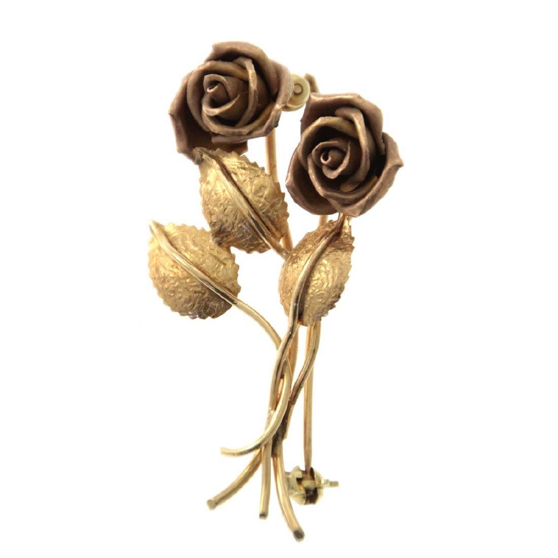 14k Gold Roses Brooch, Vienna, Austria, 1930's.