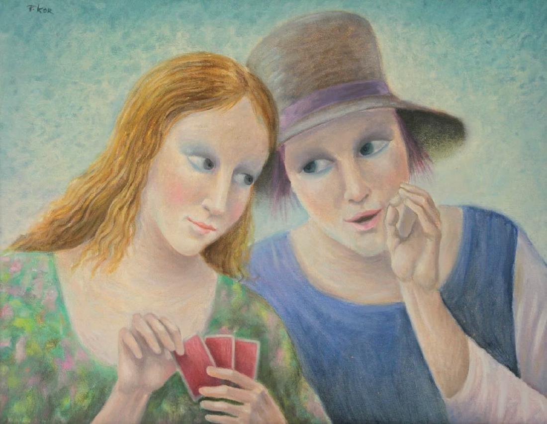 Paul Kor (1926-2001) - Card Players, Oil on Canvas.