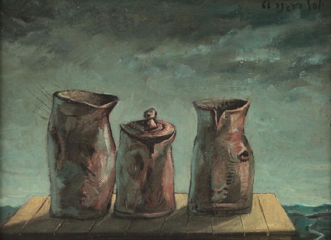 Yosl Bergner - Three Pots in the Moon-Light, Oil on