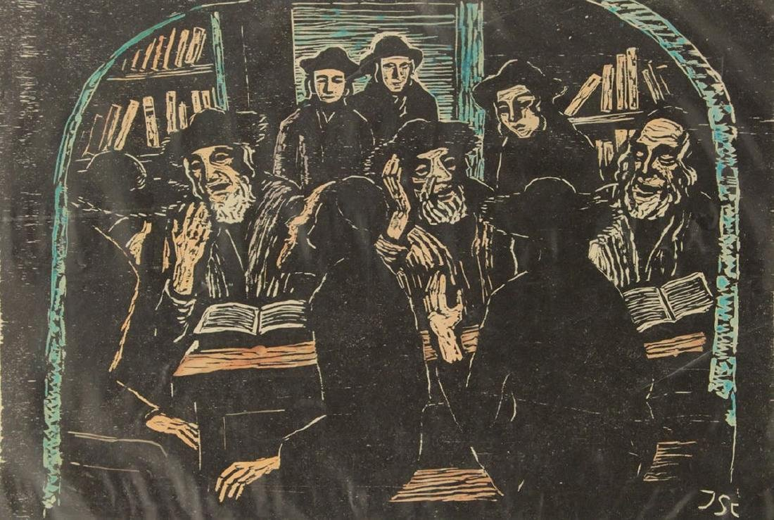 Jacob Steinhardt - Torah Studies, Hand Colored Woodcut.