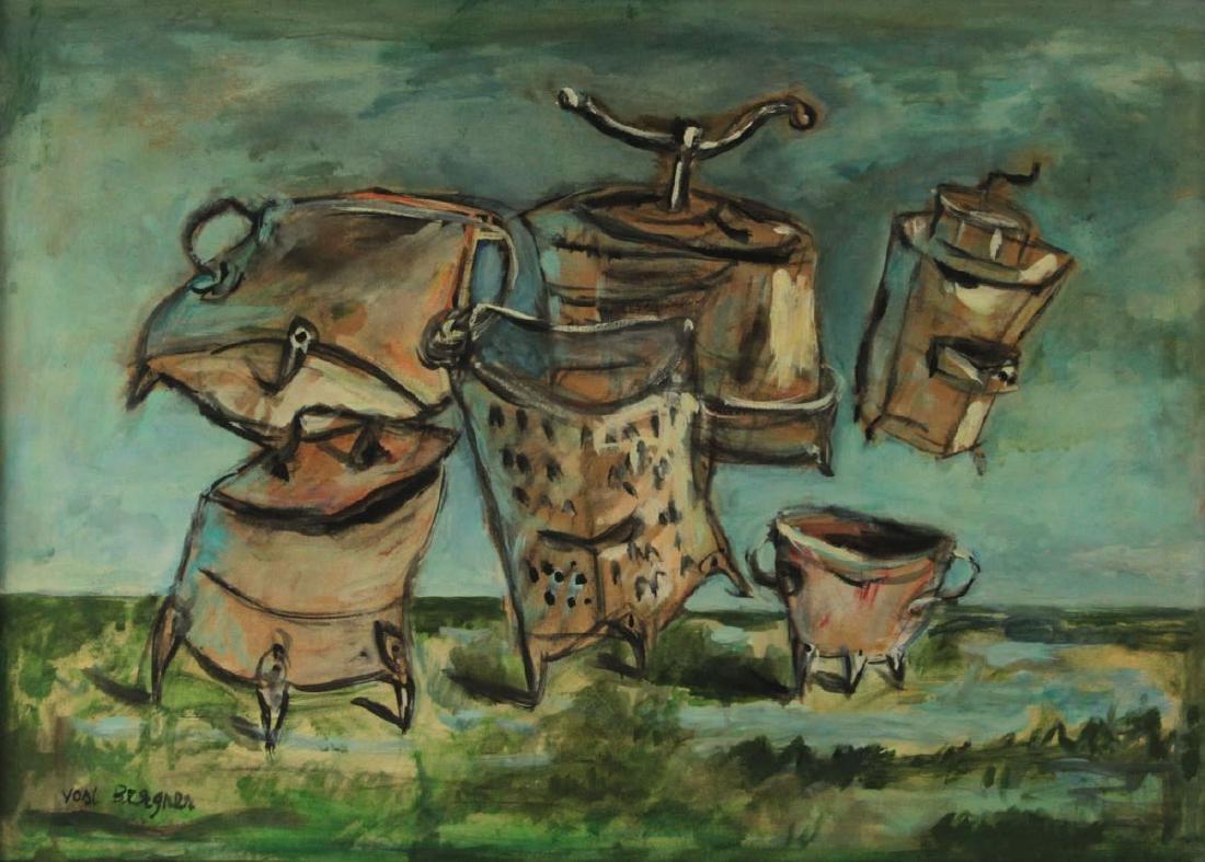 Yosl Bergner - Utensils, Oil on Paper Mounted on