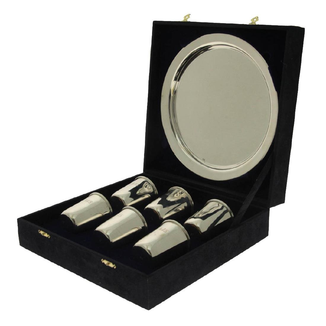 Set of Six Sterling Silver Cups on Tray, Alberto Joesph