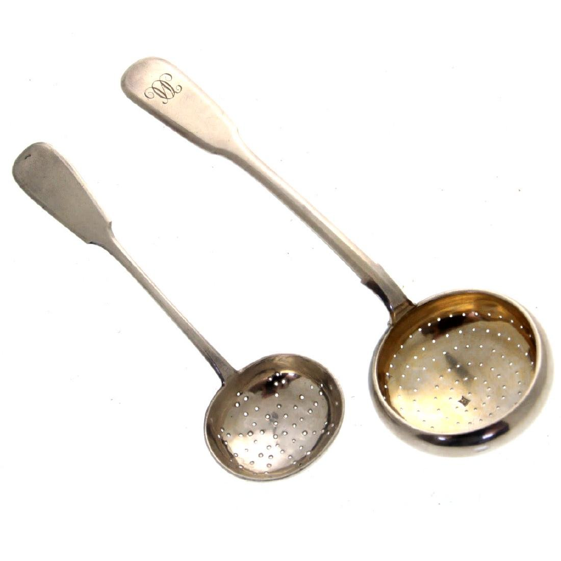 Two Russian Silver Tea Strainer.