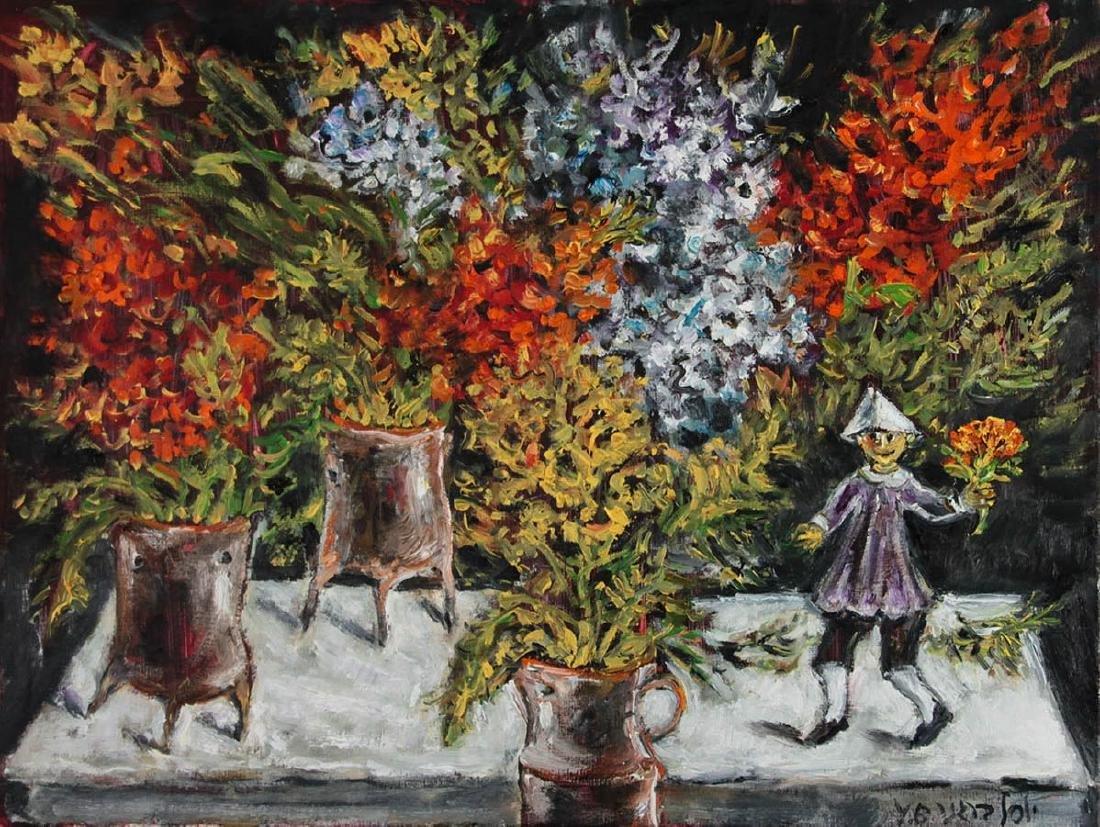 Yosl Bergner (1920-2017) - The Lover, Oil on Canvas.
