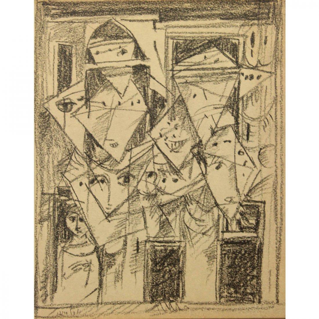 Yosl Bergner (1920-2017) - Faces, Pencil on Paper.