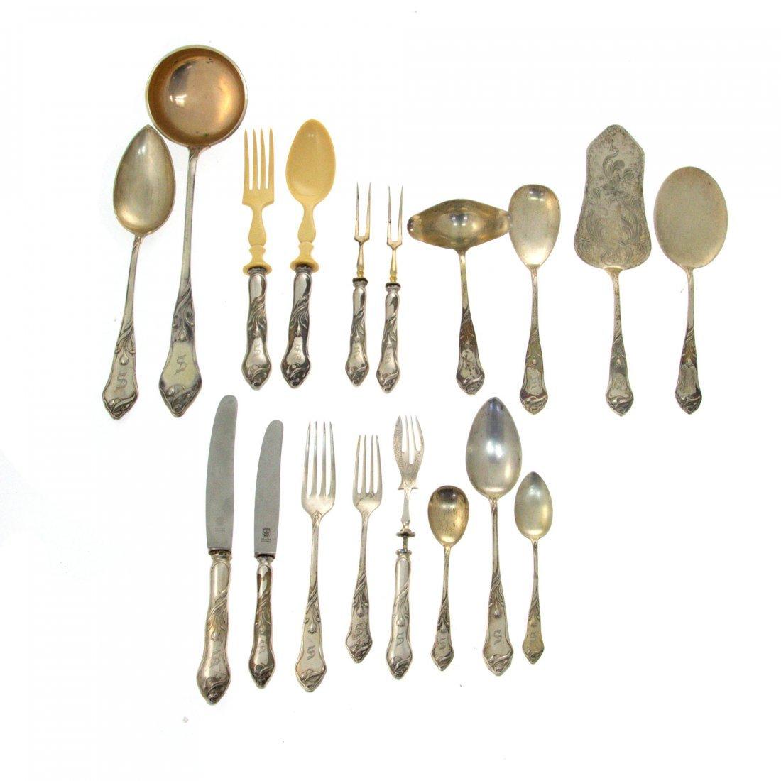 Art Nouveau Silver Flatware Set, 105pcs, Karl