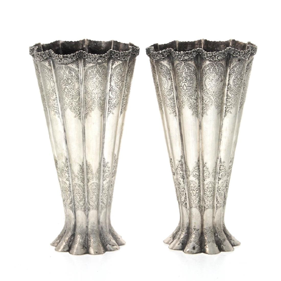 Pair of Persian Silver Vases, Early 20th Century.