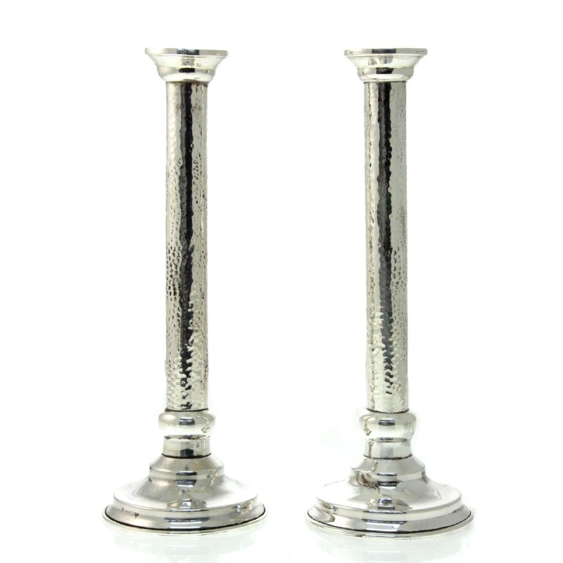 Hazorfim Pair of Sterling Silver Candlesticks.