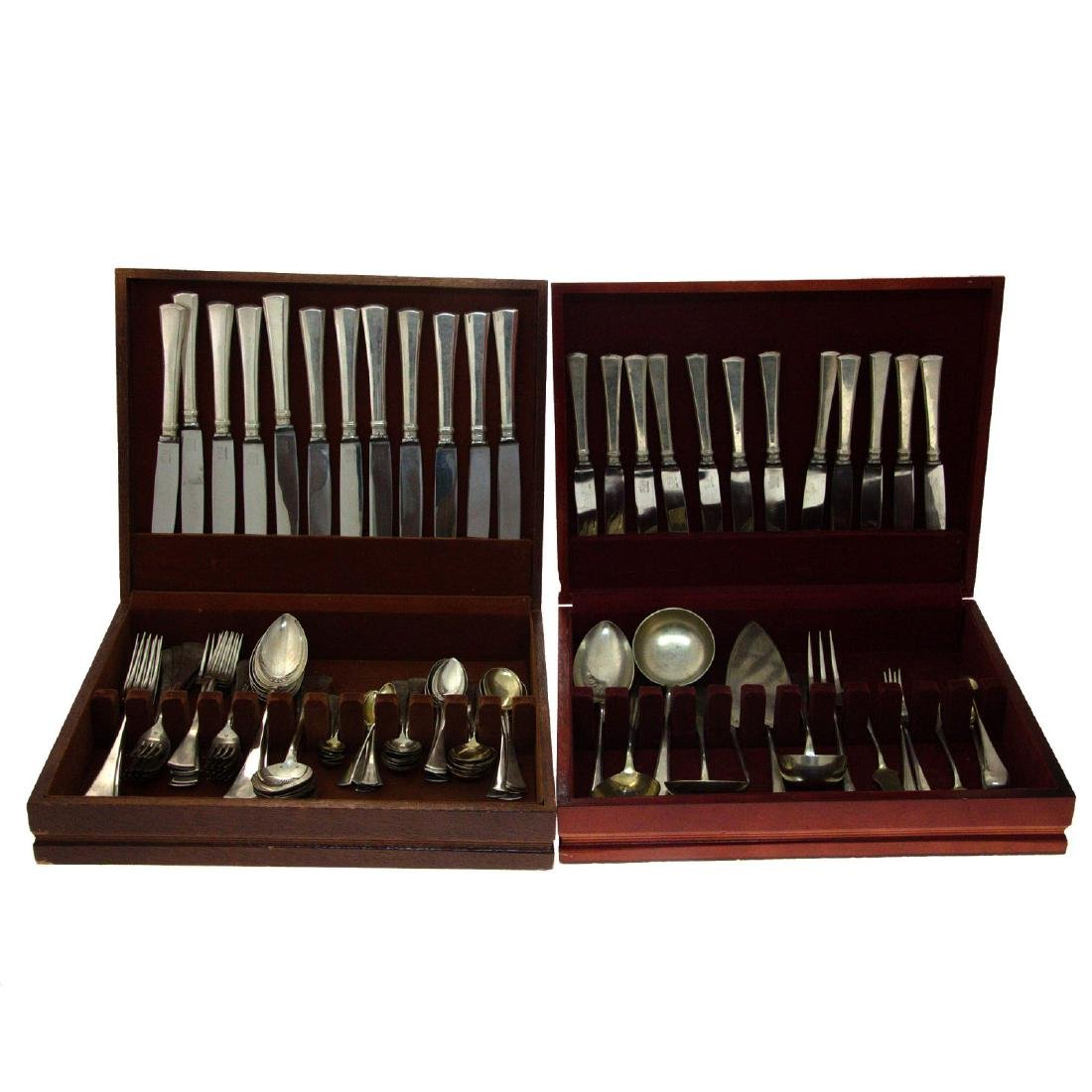 Silver cutlery set for 12 diners, Czechoslovakia,