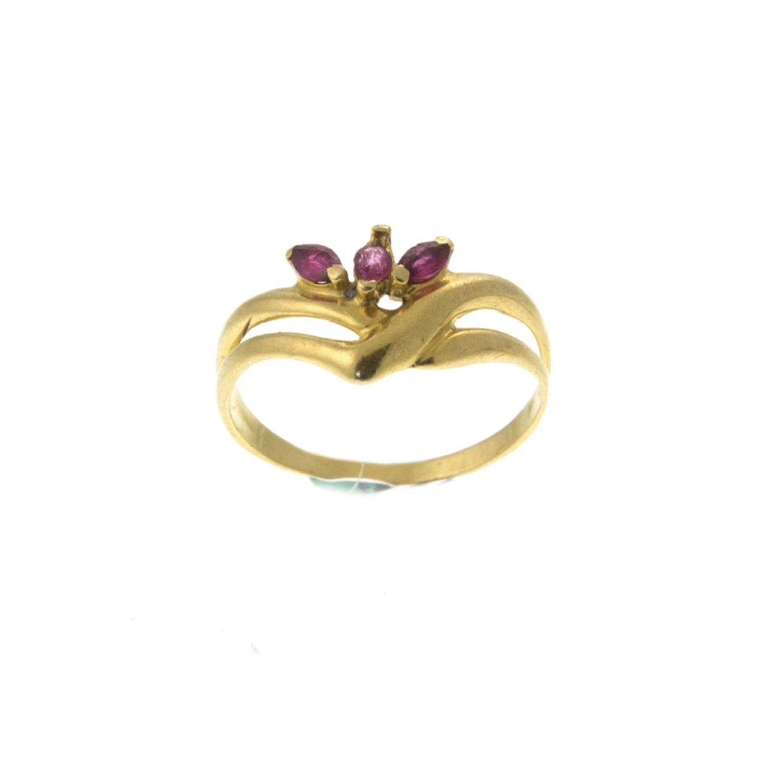 18k Yellow Gold Ruby Ring.