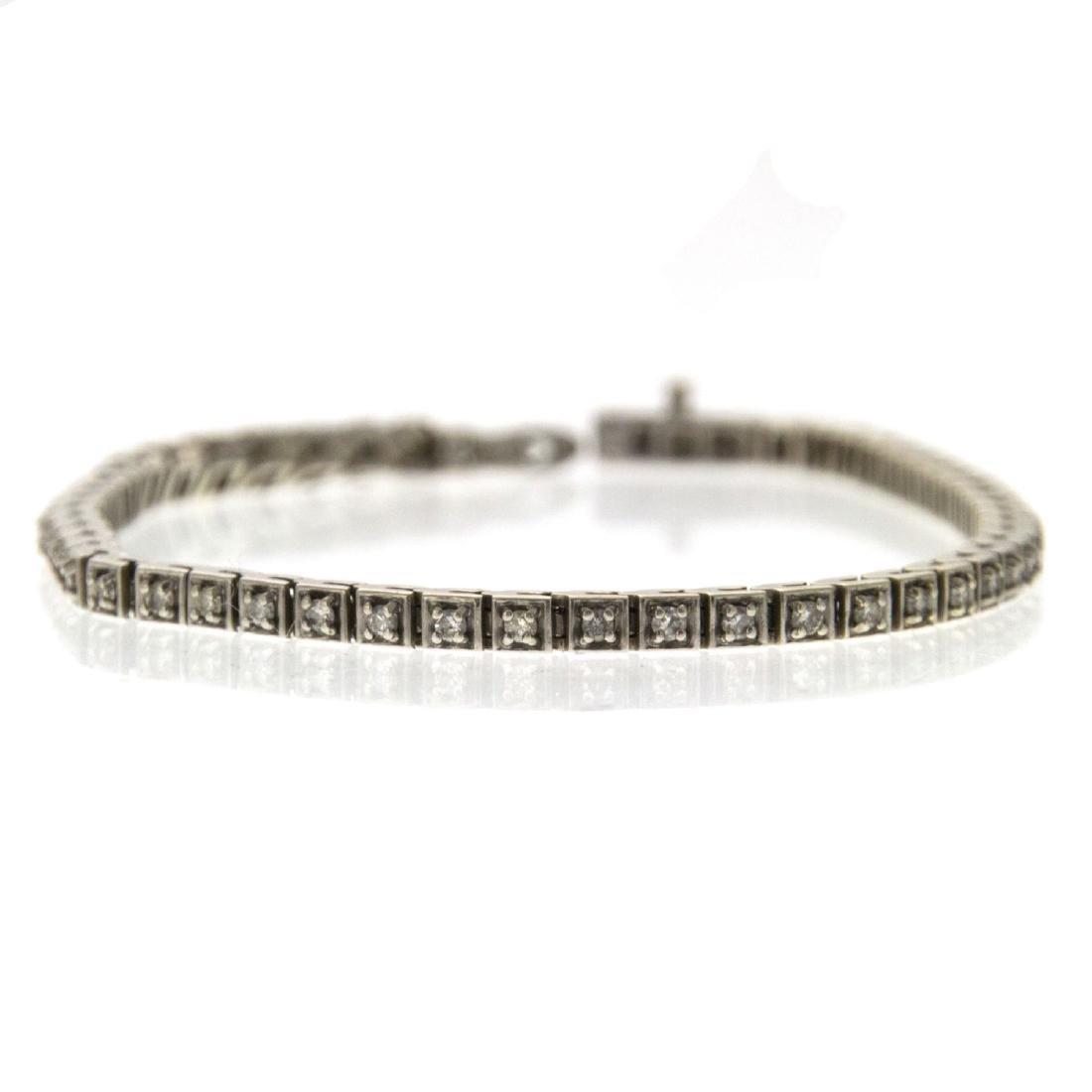 14k White Gold and Diamond Tennis Bracelet.