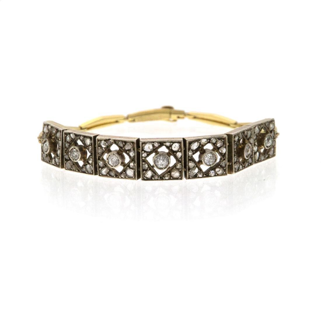 Antique 18k Gold Diamond Bracelet.
