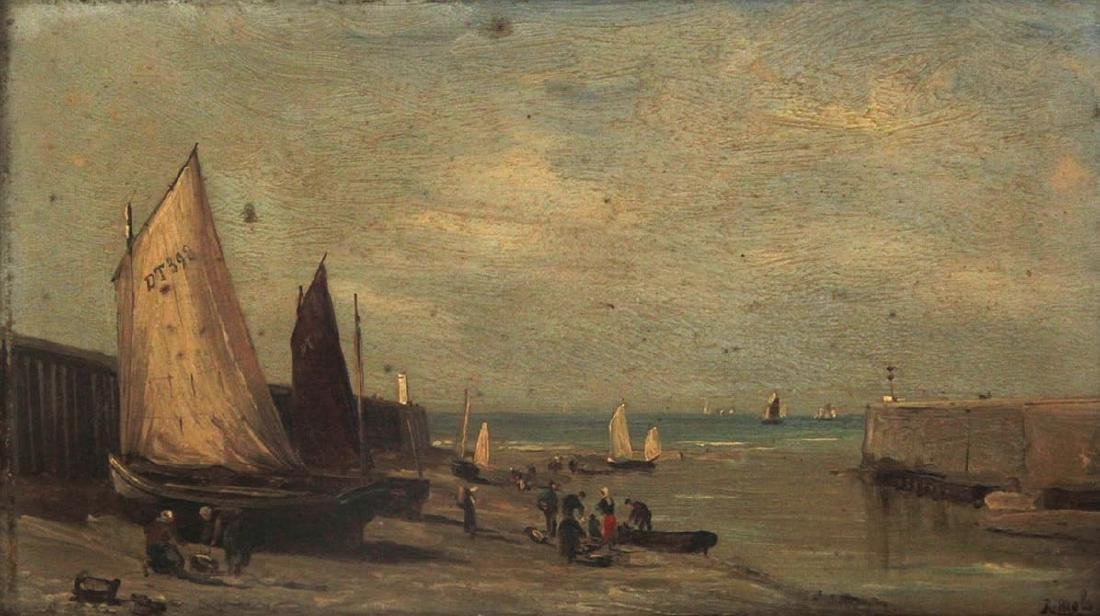 Robert Charles G. Mols (1848-1903) - Harbor, Oil on