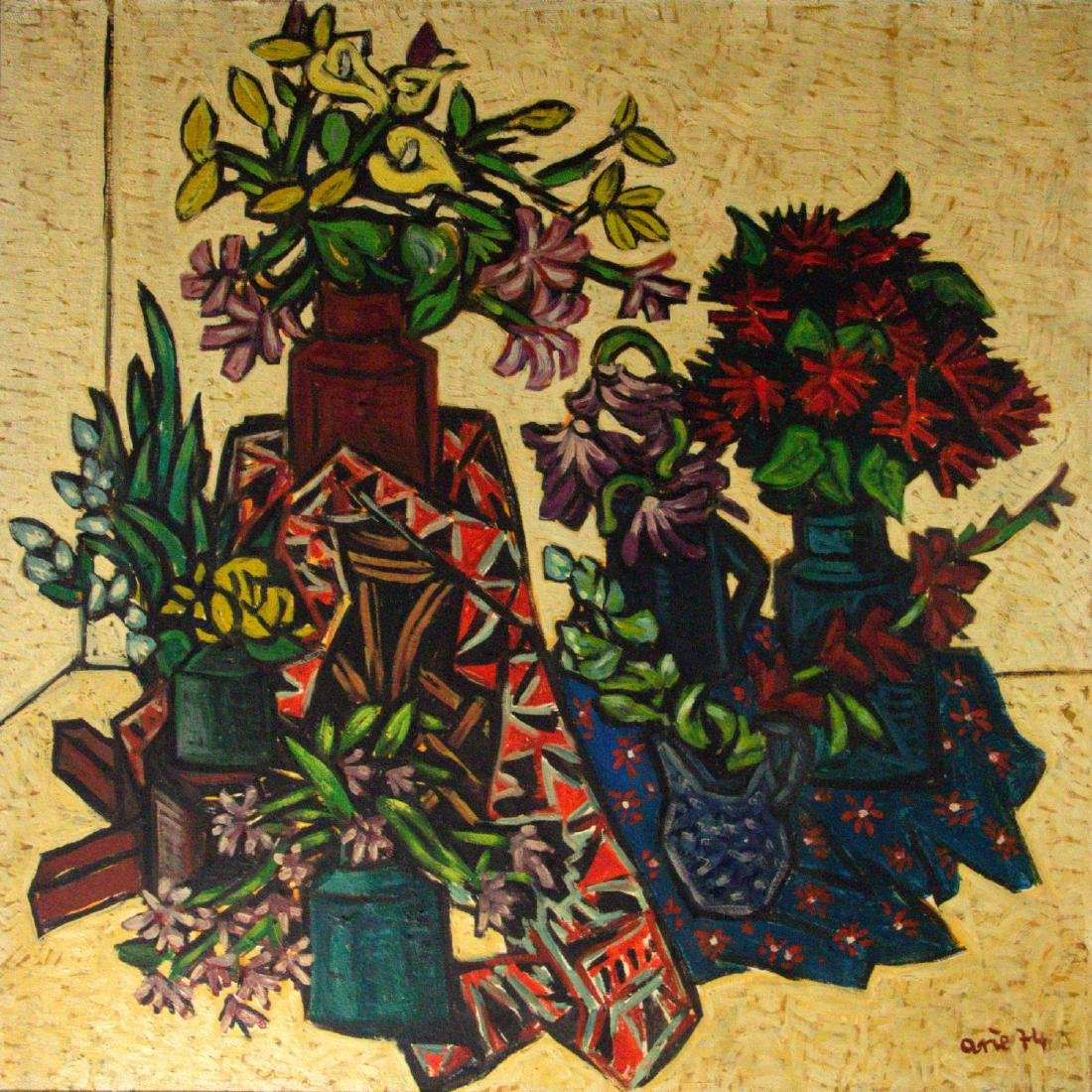 Arie Eckstein (1929-2015) - Still Life, Oil on Canvas,