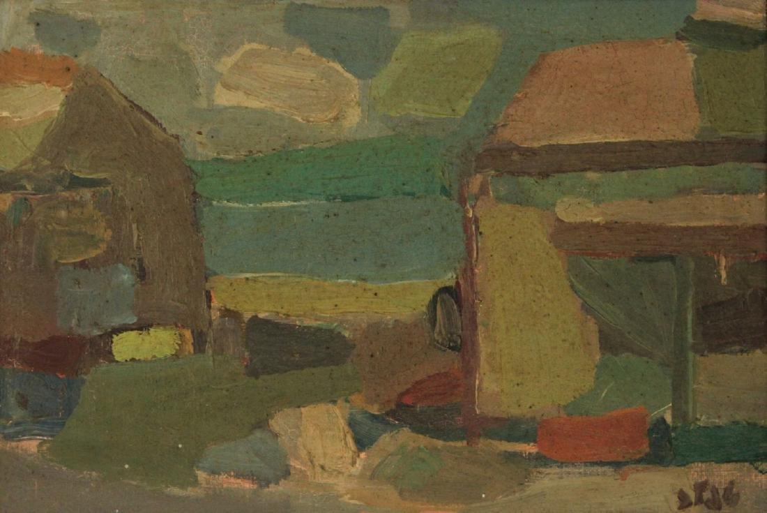 Shmuel Tepler - Street View, Oil on Canvas, 1970.