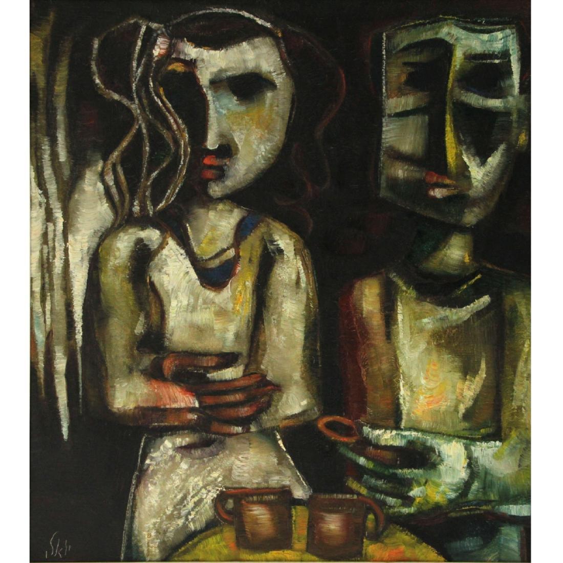 Joel Kass (b.1937) - Marriage Proposal, Oil on Canvas.