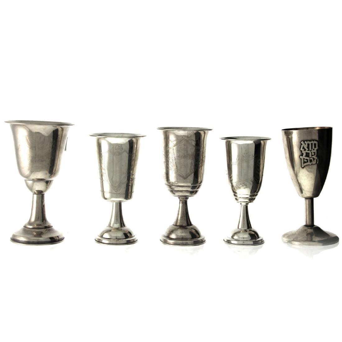 Lot of Five Silver Kiddush Cups.