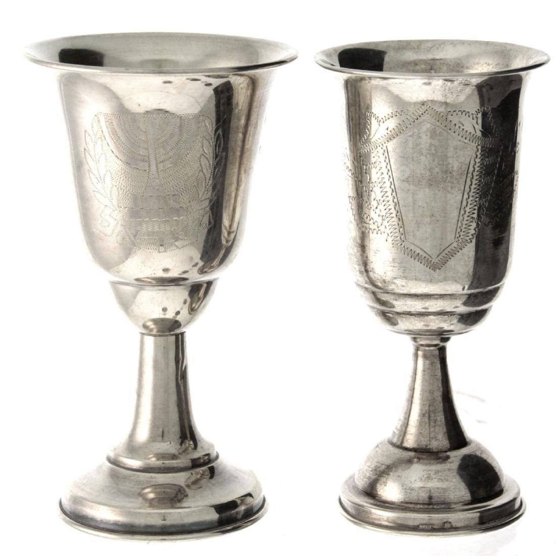 Lot of Five Silver Kiddush Cups. - 2