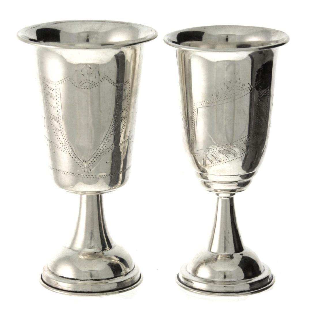 Lot of Five Silver Kiddush Cups. - 4