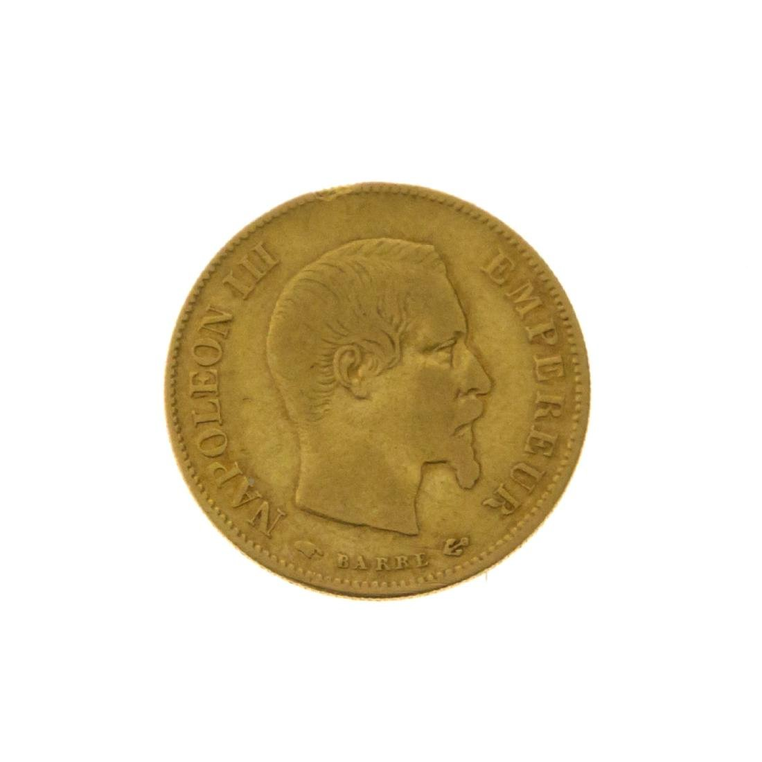 Napoleon III 10 French Francs Gold Coin, 1858 A.