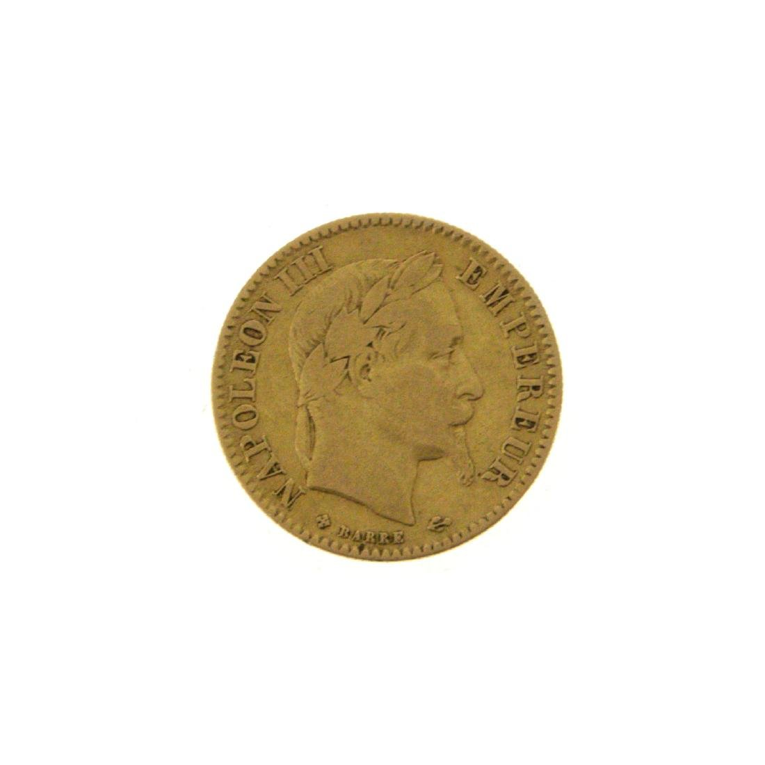 Napoleon III 10 French Francs Gold Coin, 1864.