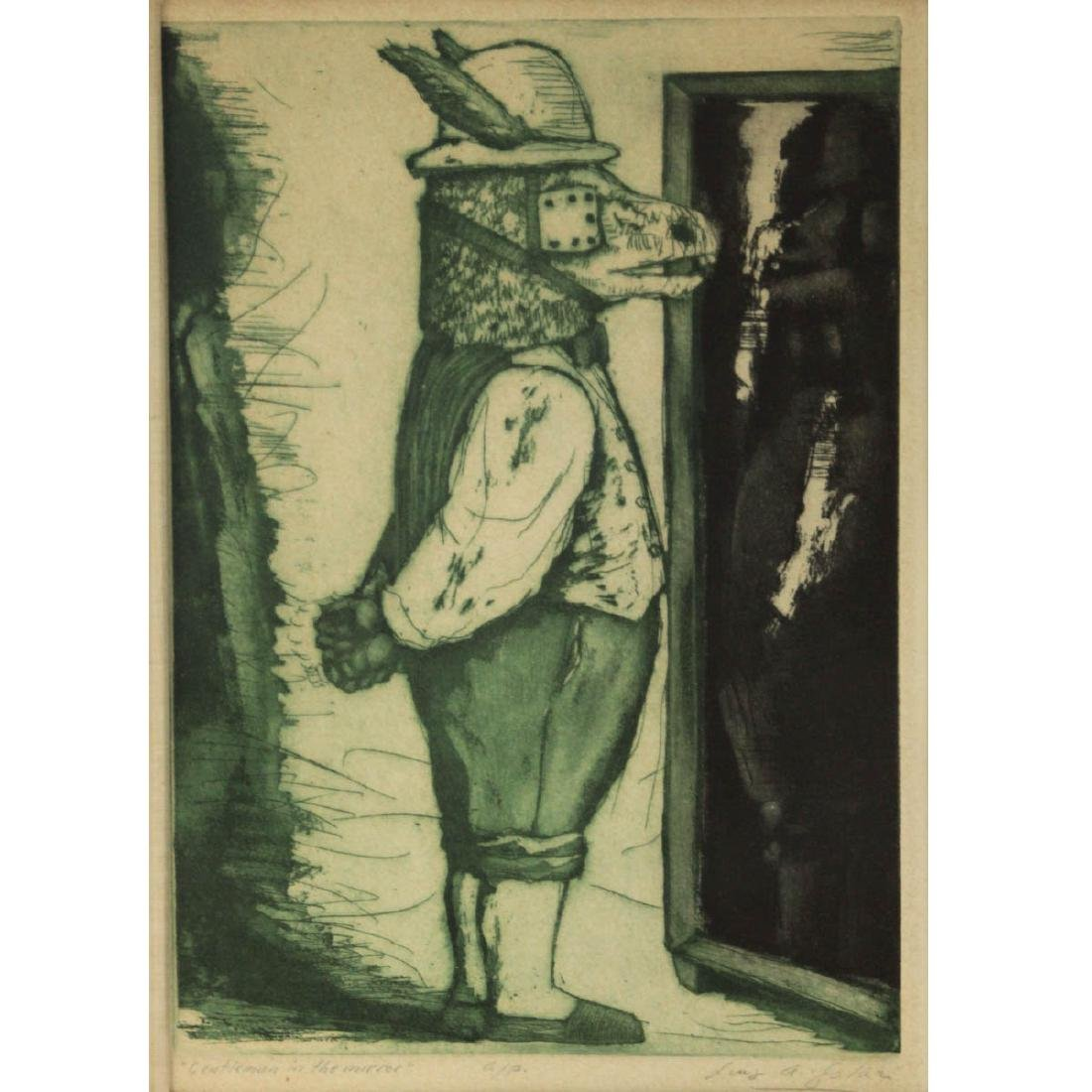 Luis Alberto Solari - Gentleman in The Mirror, Etching.
