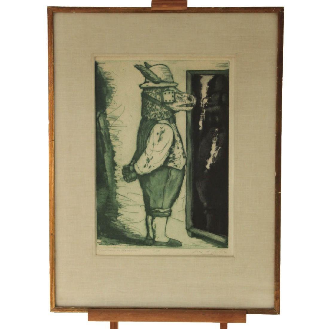 Luis Alberto Solari - Gentleman in The Mirror, Etching. - 2